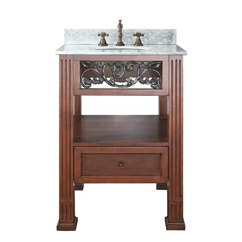 Avanity Napa Dark Cherry 24-Inch Sink Vanity with Carrera White Marble Top