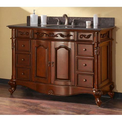 Provence 48 Inch Antique Cherry Vanity With Imperial Brown Granite Top And Undermount Sink