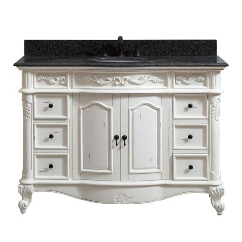 Avanity Provence Antique White 49-Inch Vanity Combo - Distressed Black Bathroom Vanity Bellacor