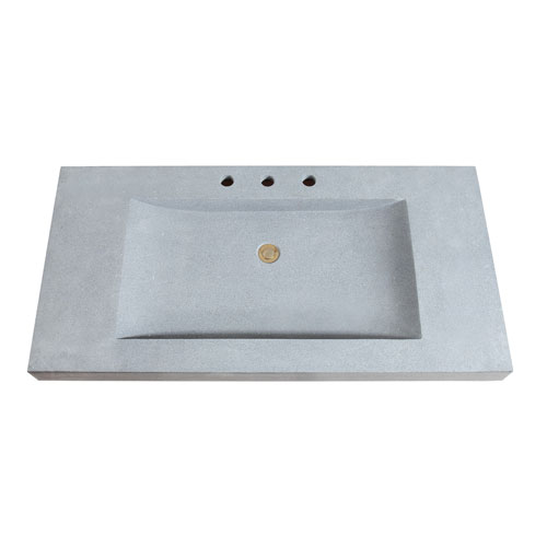 Avanity Stone Integrated 43-Inch Dark Gray Sink Top