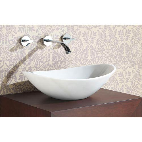 Stone Vessel Sink   Oval White Marble