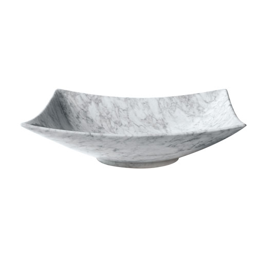 White 20-Inch Rectangular Stone Vessel Sink