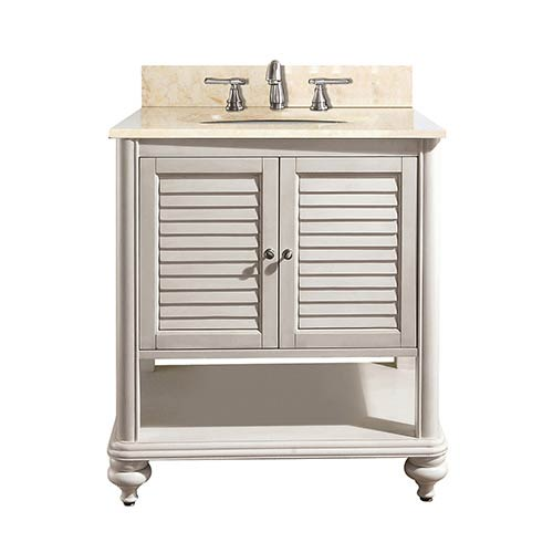 Avanity Tropica Antique White 24 Inch Sink Vanity With Galala Beige Marble Top