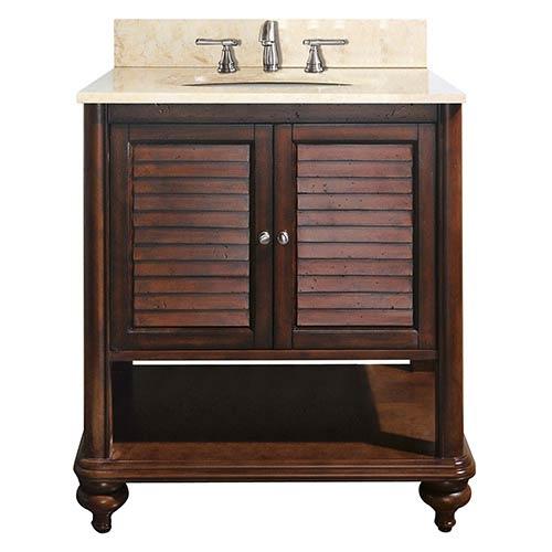 Avanity Tropica Antique Brown 30-Inch Sink Vanity with Galala Beige Marble Top