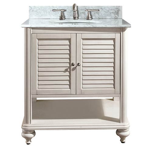 Avanity Tropica Antique White 30 Inch Sink Vanity With Carrera Marble Top