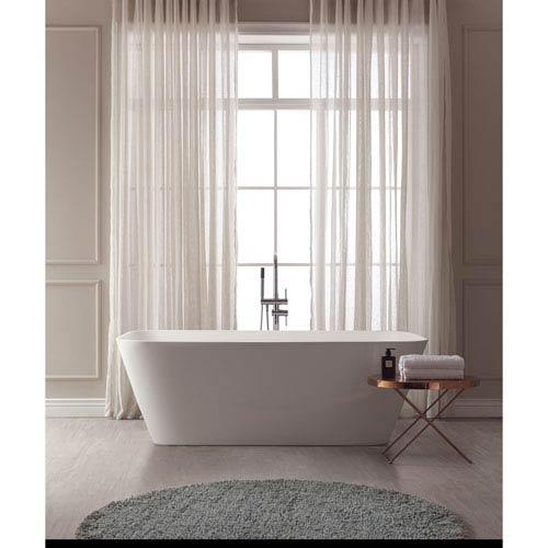 Yoshi White Solid Surface Rectangular Bathtub