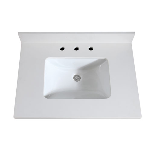 31-Inch White Quartz Top with Sink