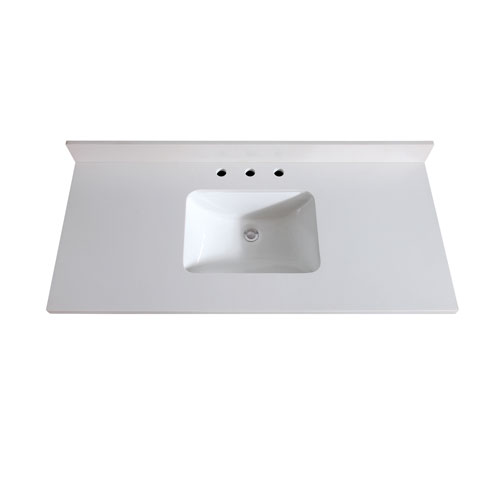 49-Inch White Quartz Top with Sink