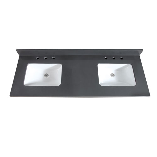 61-Inch Gray Quartz Top with Sink