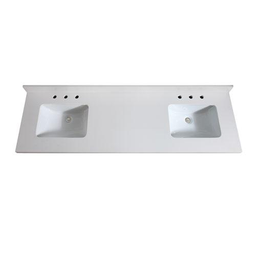 73-Inch White Quartz Top with Sink