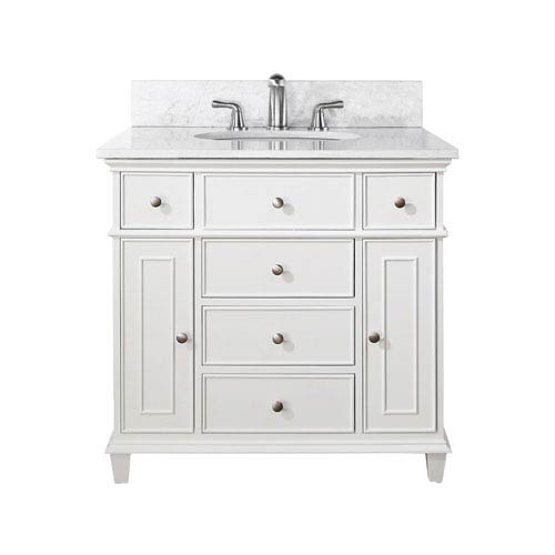 Avanity Windsor 36 Inch White Vanity With Carrera Marble Top And Undermount Sink