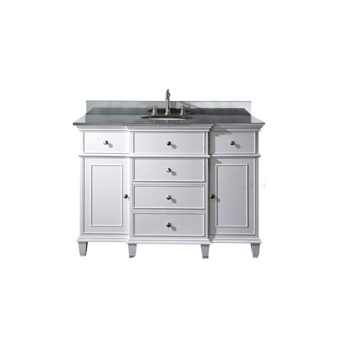 Windsor 48-Inch White Vanity with Black Granite top and Undermount Sink