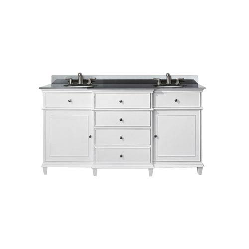 Windsor 60-Inch White Vanity with Black Granite top and Dual Undermount Sinks