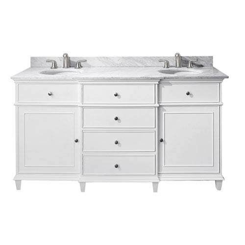 Avanity Windsor 60 Inch White Vanity With Carrera Marble Top And Dual Undermount Sinks