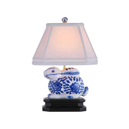 Blue and White Bunny Table Lamp