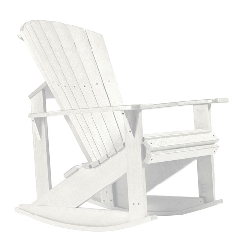 C R Plastic Products Generations Adirondack Rocking Chair White C04