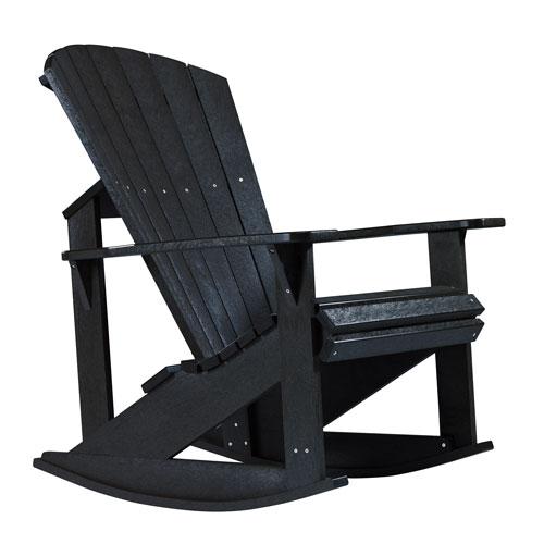 C.R. Plastic Products Generations Adirondack Rocking Chair-Black