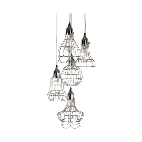 Silver Wire Five-Light Pendant Lamp