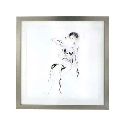 Charcoal and Ink Nude w/ Silver Leaf Frame - 4x6