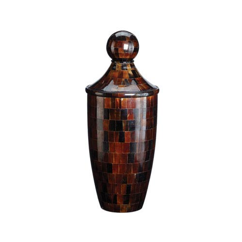 Small Chestnut Horn Urn with Lid