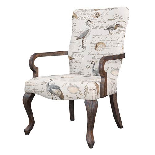 Arnau Cream with Birds Goose Neck Arm Chair