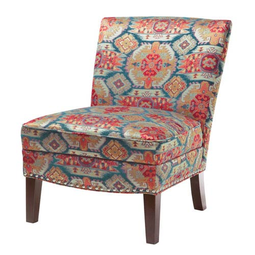 Madison Park Hayden Red and Blue Slipper Accent Chair