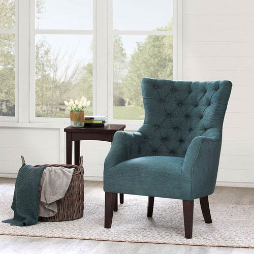 Hannah Blue Button Tufted Wing Chair