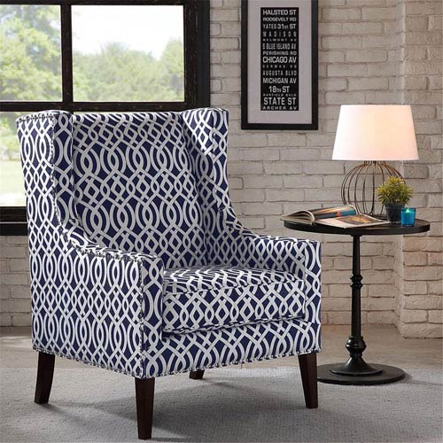Madison Park Barton Navy and White Wing Chair