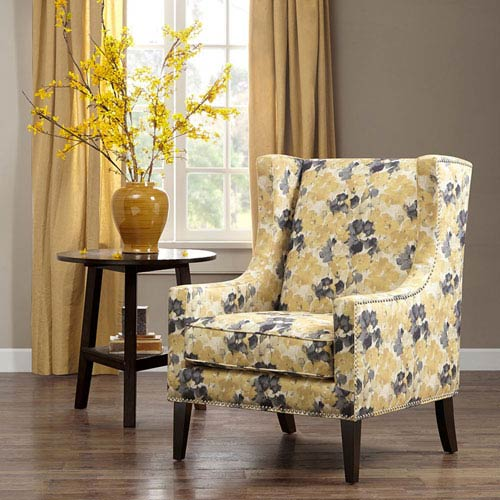 Madison Park Barton Yellow And Gray Wing Chair