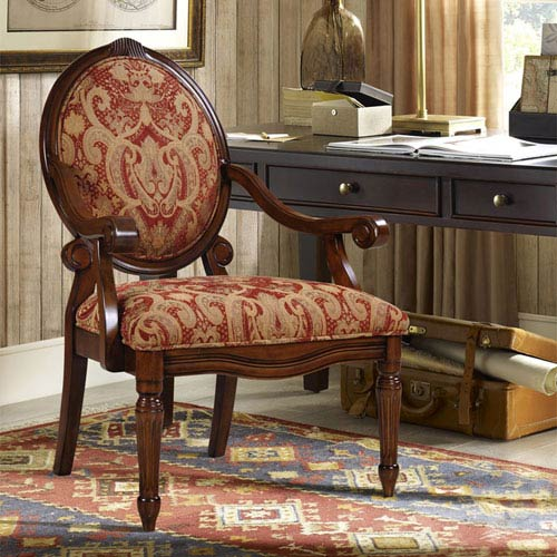 Madison Park Brentwood Red Exposed Wood Arm Chair