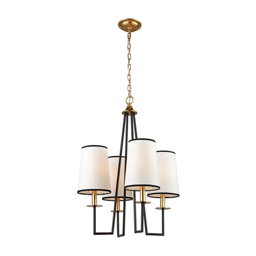 On Strand Oiled Bronze with Gold Leaf Four-Light Chandelier