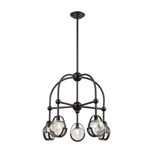 Focal Point Oil Rubbed Bronze with Clear Crystal Five-Light Chandelier