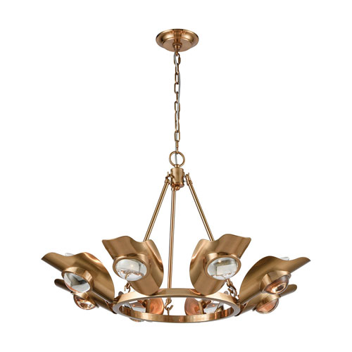 Spectacle Aged Brass with Clear Crystal Eight-Light Chandelier