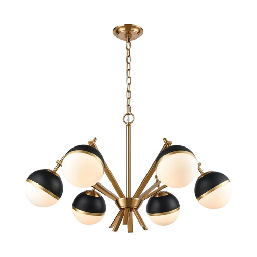 Blind Tiger Aged Brass with White Glass Six-Light Chandelier