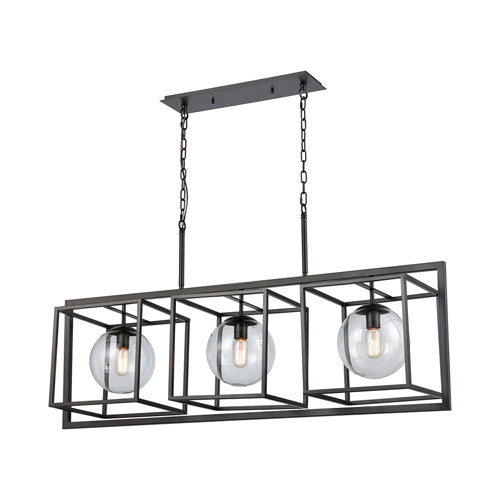 Beam Cage Oil Rubbed Bronze with Clear Glass Three-Light Linear Pendant