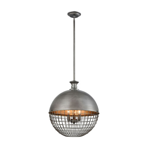 Juggernaut Brushed Slate Three-Light Pendant