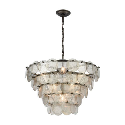 Airesse Brushed Slate with Mercury Glass Nine-Light Chandelier