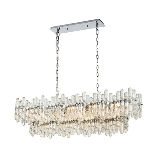 Icy Reception Chrome with Clear Glass 12-Light Linear Pendant