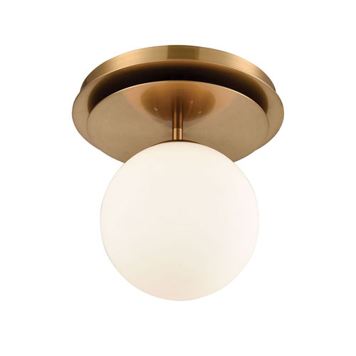 Picfair Aged Brass with White Glass One-Light Flush Mount