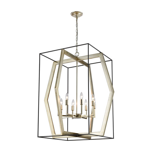 Mixed Geometries Oil Rubbed Bronze and Antique Silver Leaf Eight-Light Pendant