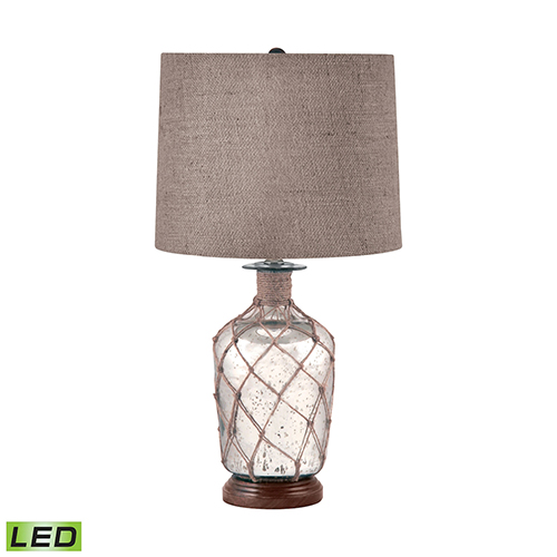 Mercury Glass and Jute LED Table Lamp