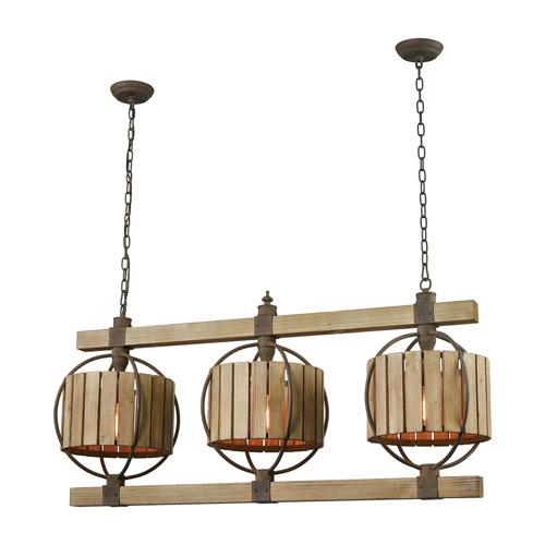 Triple Barrel Wood Tone and Rust Three-Light Chandelier