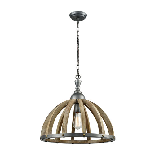 Barnstorm Wood Tone and Pewter One-Light Pendant