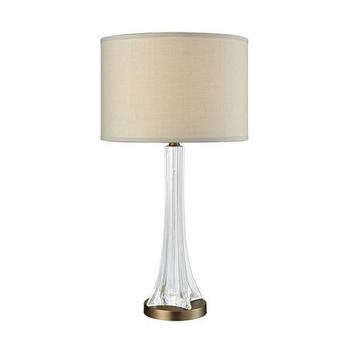 Dimond Cascata Weathered Antique Brass and Clear Glass One-Light Table Lamp