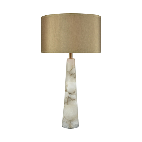 Champagne Float Alabaster and Weathered Antique Brass One-Light Table Lamp