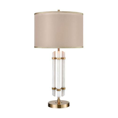 Embassy Cafe Bronze and White Faux Alabaster 34-Inch One-Light Table Lamp
