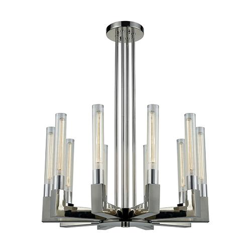 Light Thrust Polished Nickel 10-Light Chandelier