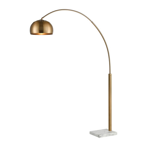 Solar Flair Aged Brass and White Marble 77-Inch One-Light Floor Lamp