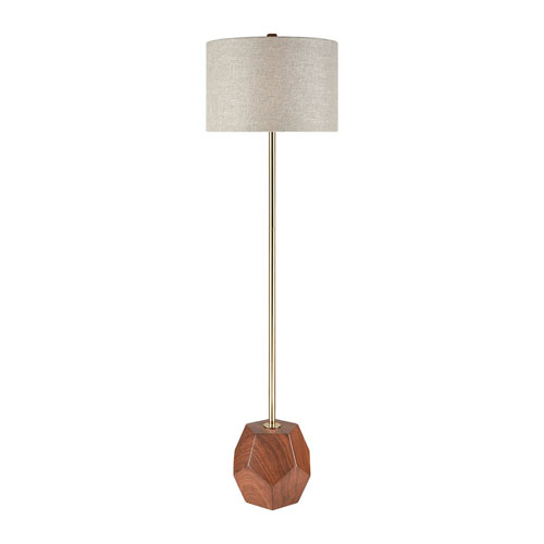 Hot Spot Mahogany Wood and Antique Gold 61-Inch One-Light Floor Lamp
