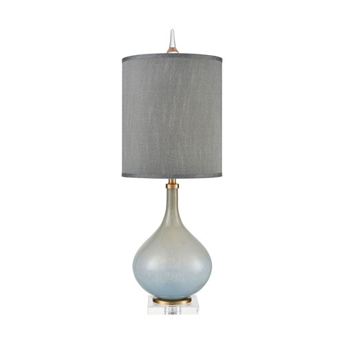 Farrah Cafe Bronze and Pale Blue Glass 33-Inch One-Light Table Lamp